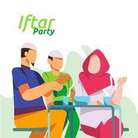 Cena familiar musulmana en Ramadán Kareem o celebrando el Eid con carácter de personas. iftar comiendo después del ayuno fiesta concepto de fiesta. plantilla de página de destino web, banner, presentación, medios sociales o impresos vector