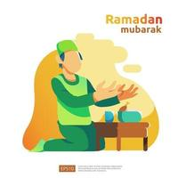 happy ramadan mubarak and islamic eid fitr or adha flat design greeting concept with people character for web landing page template, banner, presentation, social, and print media vector