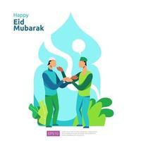 feliz saludo de eid mubarak o ramadán con carácter de personas. concepto de ilustración de diseño islámico para plantilla para página de destino web, social, póster, anuncio, promoción, medios impresos, banner o presentación