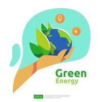 fuentes de energía verde limpia con paneles solares solares eléctricos renovables y turbinas eólicas. concepto ambiental para plantilla de página de destino web, banner, presentación, medios sociales e impresos vector
