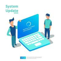 update progress concept of operation system, data synchronize process and installation program. illustration web landing page template, banner, presentation, UI, poster, ad, promotion or print media. vector