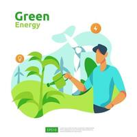 green clean energy sources with renewable electric sun solar panel and wind turbines. environmental concept for web landing page template, banner, presentation, social, and print media vector