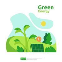 fuentes de energía verde limpia con paneles solares solares eléctricos renovables y turbinas eólicas. concepto ambiental para plantilla de página de destino web, banner, presentación, medios sociales e impresos