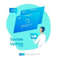 Actualizar el concepto de progreso del sistema operativo, el proceso de sincronización de datos y el programa de instalación. plantilla de página de destino web de ilustración, banner, presentación, interfaz de usuario, cartel, anuncio, promoción o medios impresos. vector