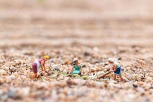 agricultores en miniatura que trabajan en una parcela en el desierto, concepto de agricultura