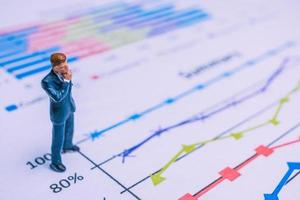 Miniature businessman standing on a paper graph chart, developing teamwork concept photo