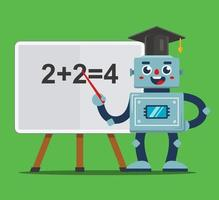 Robot teacher teaches children in the classroom. school of the future. flat vector illustration.