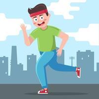 corredor masculino corre con el telón de fondo de la ciudad. Ilustración de vector de personaje plano.