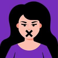 girl with closed mouth. censorship for women. gender discrimination. flat vector illustration.