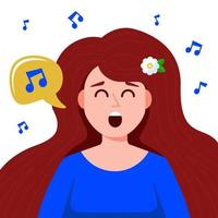 young girl sings songs. flat vector illustration.