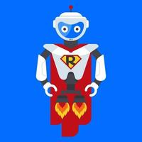 iron robot superhero. character from the future. science fiction heroes. flat vector illustration.