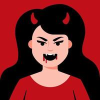 Devil girl with horns and sharp teeth with blood near the mouth. Flat character vector illustration.