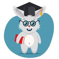 a smart hare in a hat and glasses stands at full height with a book in his paws. Flat character vector illustration.