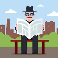 spy sits on a bench with a newspaper in his hands and a hat. secret observer character. Flat vector illustration.