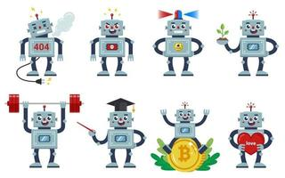 robot set on a white background. different professions and characters of living machines. Angry, kind, loving, working. flat character vector illustration