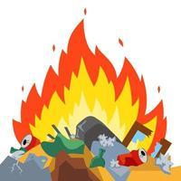 quemar basura en el vertedero. Emisiones nocivas. Daño ambiental. ilustración vectorial plana. vector