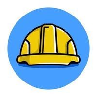 casco de construcción amarillo. ilustración vectorial plana vector