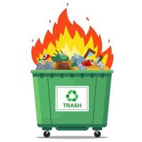 burning waste bin. flat vector illustration