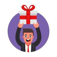 manager gives a gift. celebration in the office. Flat character vector illustration.