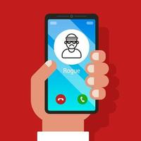 a scam call on a smartphone. cheating on the phone. flat vector illustration