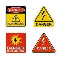 set of stickers dangerously high voltage. flat vector illustration