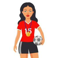 girl in a sports uniform holds a ball. a gold medal hangs on her chest. flat character vector illustration