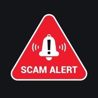 triangular red emblem caution scam. flat vector illustration