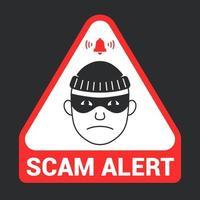 alerta de estafa de emblema triangular rojo. icono de ladrón. ilustración vectorial plana.