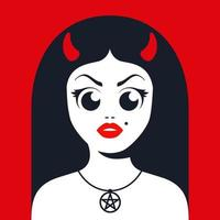 female devil with horns with satanic star decoration on the neck. Flat character vector illustration.