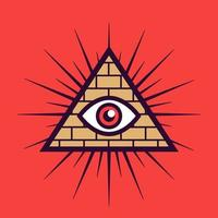 Masonic sign on a red background. pyramid with an eye. flat vector illustration.