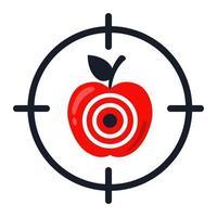 objetivo de manzana. acertar exactamente en el objetivo. ilustración vectorial plana