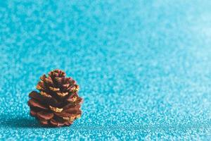 A pine cone on a blue glitter background