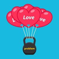 balloons of love raise a heavy weight of problems. Flat vector banner.