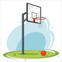 aro de baloncesto del patio trasero. baloncesto amateur en el césped. Ilustración de vector plano de equipamiento deportivo.
