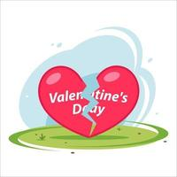 broken heart lies on grass on holiday valentines day. flat vector illustration