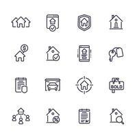 Conjunto de iconos de línea de bienes raíces, casas en alquiler, hipotecas, seguros.eps vector