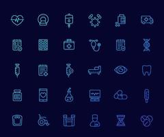 medical and health care icons set, insurance, pills, vaccine, ct scan, ecg, iv drip, blood test, linear vector.eps vector
