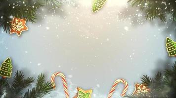 closeup animado galhos de árvores verdes de Natal e brinquedos em fundo de neve