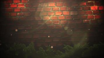 animado close up bokeh abstrato e galhos de árvores verdes de natal no fundo de tijolos