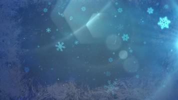 bokeh azul abstrato e floco de neve caindo. feliz ano novo e feliz natal fundo brilhante