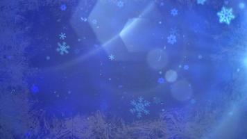 abstraktes blaues Bokeh und fallende Schneeflocke. Frohes neues Jahr und frohe Weihnachten glänzenden Hintergrund