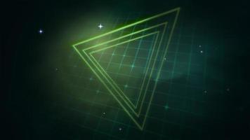 triangle rétro de mouvement dans l'espace, fond abstrait avec bruit et distorsion