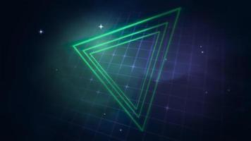 movimento retro triângulo no espaço, fundo abstrato com ruído e distorção