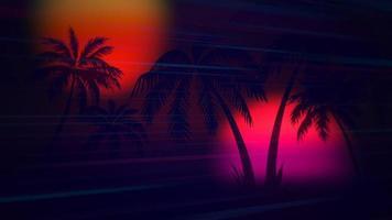 rörelse retro sommar abstrakt bakgrund, palmer på natten