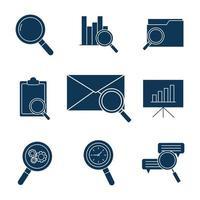 conjunto de iconos de silueta de búsqueda vector