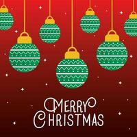 merry christmas ornaments hanging vector design