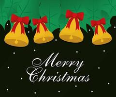 merry christmas bells with bows vector design