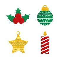 merry christmas icon set vector design