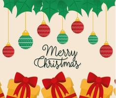 merry christmas gifts with ornaments hanging vector design