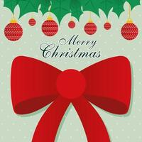 merry christmas bow with ornaments hanging vector design